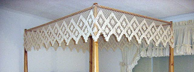 A) Double Diamond Canopy & Hand Tied Bedding - Flat Fishnet Bed Canopies